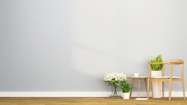 Living area in apartment or coffee shop - interior design - 3d rendering