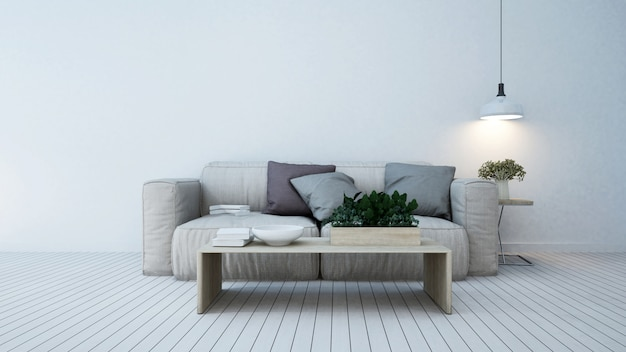 Living area in apartment or home - 3d rendering