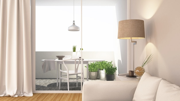 Living area and balcony clean design - 3d rendering