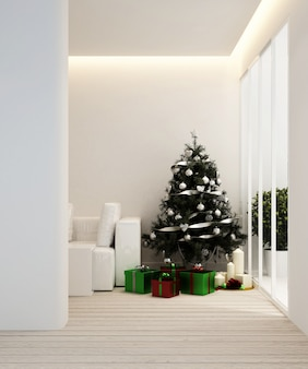 Living area and christmas tree in apartment or home - interior design - 3d rendering