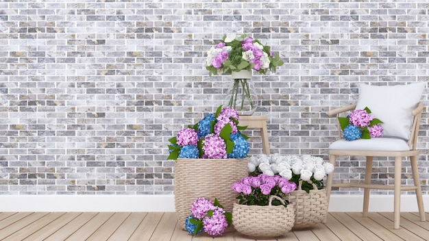 Living area and colorful flower in apartment or home 3d
