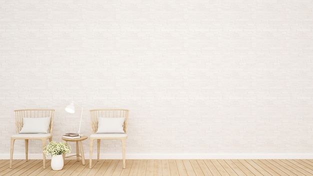 Living area or dining area and white stone wall decoration