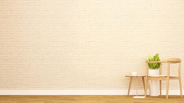 Жилая площадь в квартире или другой комнате - дизайн интерьера для художественных работ - 3d рендеринг