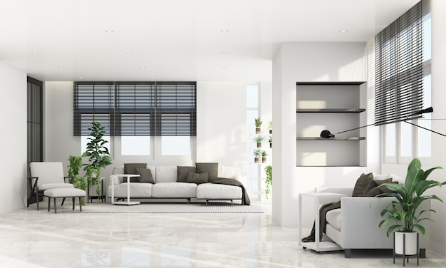 나무 창틀과 회색 가구 톤의 깎아 지른듯한 현대적인 스타일의 거실 공간, 3d 렌더링