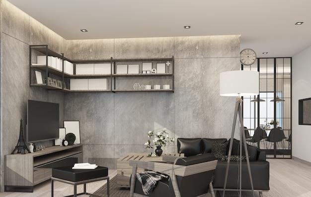 Гостиная в современном стиле лофт в доме из бетона и дерева с диваном.
