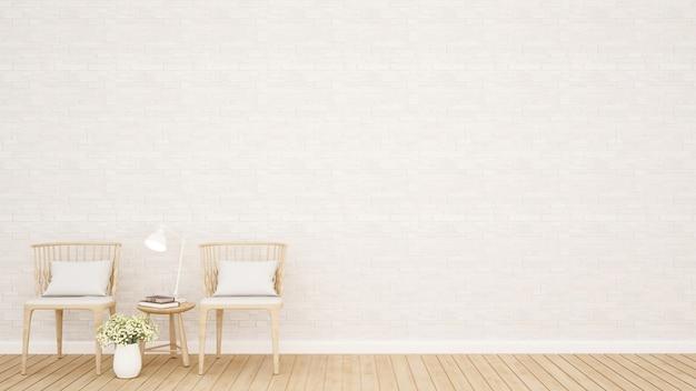 거실 또는 식사 공간 및 흰색 돌 벽 장식