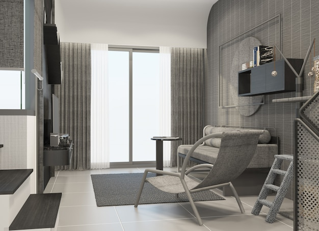 Living area in townhouse interior modern natural style 3d rendering