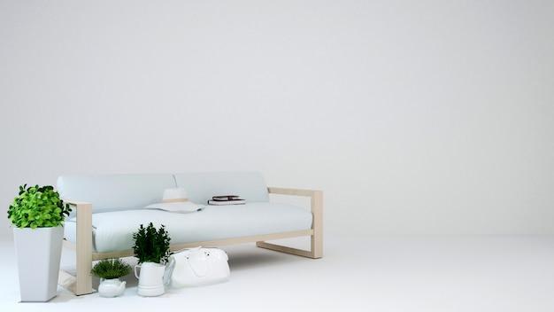 Living area on white blackground - 3d rendering
