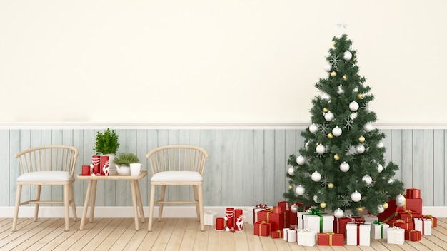 Living area with christmas tree and gift box