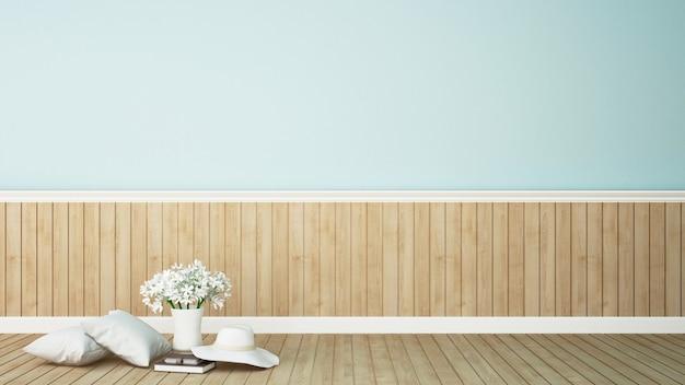 Жилая зона с цветком в кофейне на голубых тонах - 3d renderi