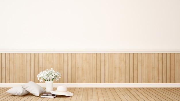 Жилая зона с цветком в кафе или кафе - 3d рендеринг