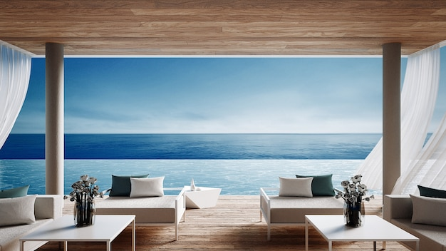 リビングビーチラウンジ - 休暇や夏の海の景色を望むオーシャンヴィラ/ 3 dレンダリングインテリア