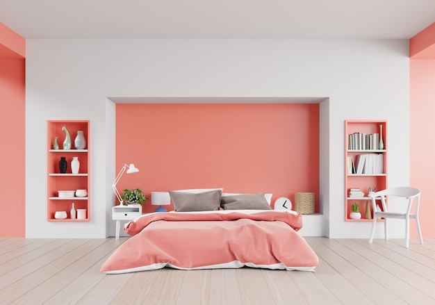Living coral color bedroom of luxury house with double bed and shelves