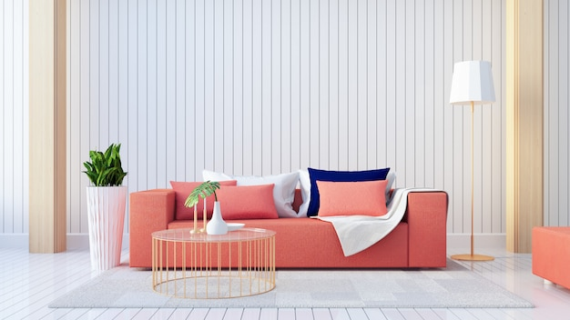 Living coral interior / color of the year for festive and valentine / 3d rendering