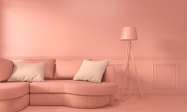 Living coral room inetrior with sofa and decoration color living coral style. 3d rendering