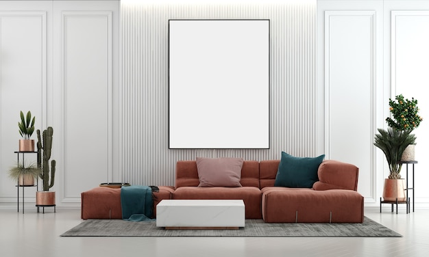 살아있는 장식 아이디어와 현대적인 가구는 인테리어 디자인과 빈 벽 질감 배경을 조롱합니다.