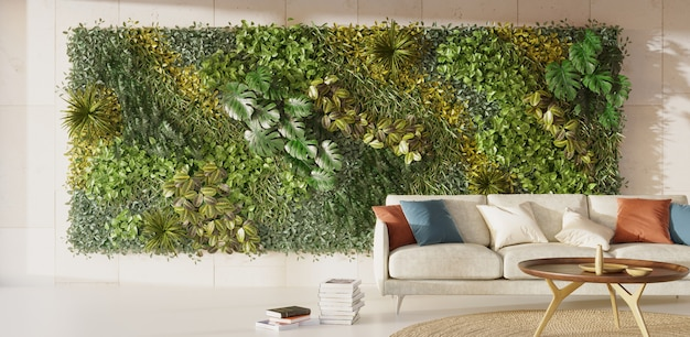 Living green wall in interior desing vertical garden interior 3d render