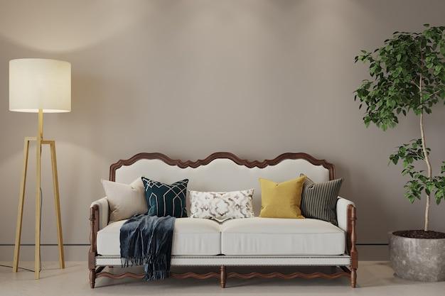 ソファと枕と植物のあるリビングインテリア