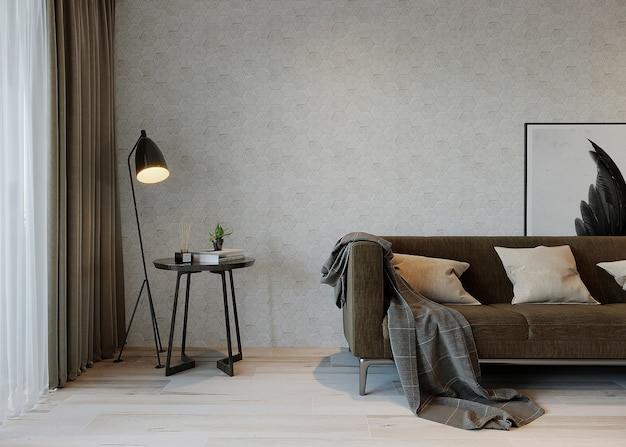 Living interior with sofa, lamp and coffee table
