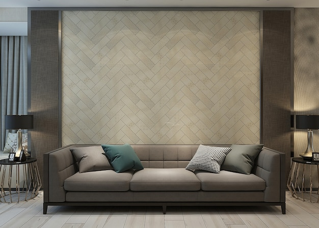 Living interior with sofa and wall design