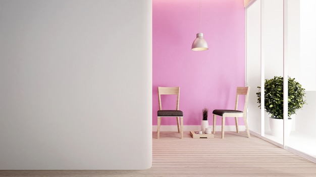 ピンクのトーンのリビングルームとバルコニー。