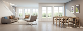 Living room and dining room in modern house, home interior - 3D rendering