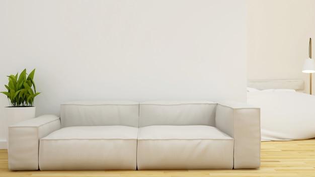 Living room and bedroom - 3d rendering