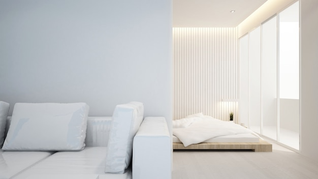 Living room and bedroom in apartment or hotel - interior design