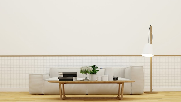 Living room or coffee shop - 3d rendering