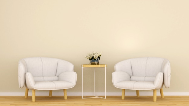 Living room in coffee shop or lounge - 3d rendering