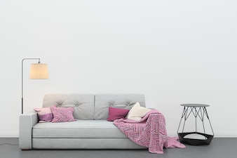 Living room concrete floor gray sofa modern template background template