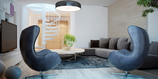 2つの黒いデザイナーアームチェアを備えたリビングルームの現代的なスタイル。