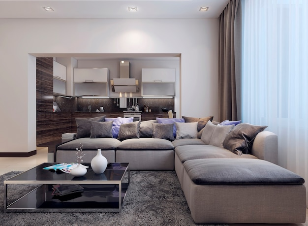 現代的なスタイルのリビングルーム。