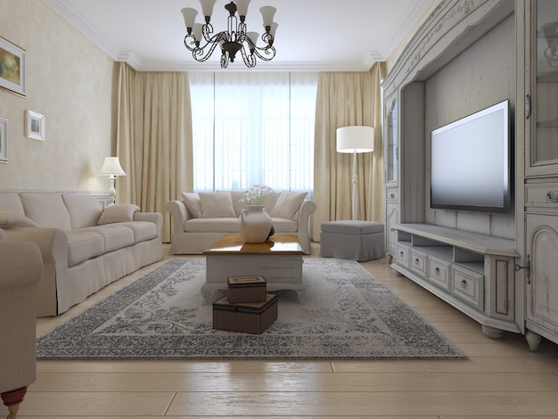 Living room country style with bright interior of room with large window and exclusive wall system and soft furniture.
