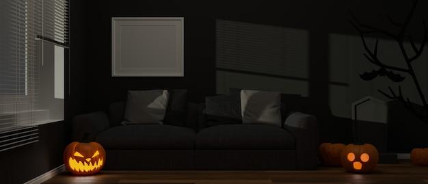 바닥 3d 렌더링에 호박 램프와 촛불이 있는 할로윈 장식으로 장식된 거실