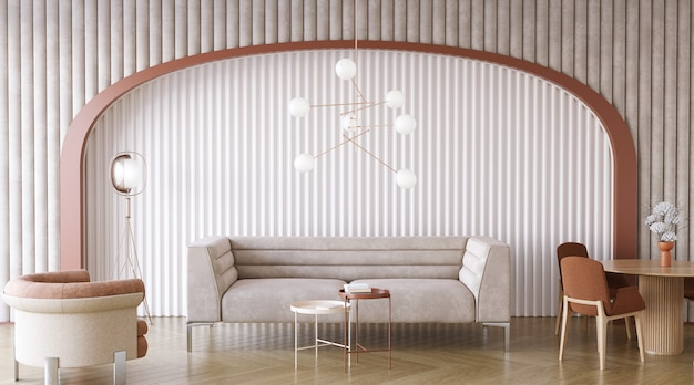 Living room design wiht arch in the wall 3d render