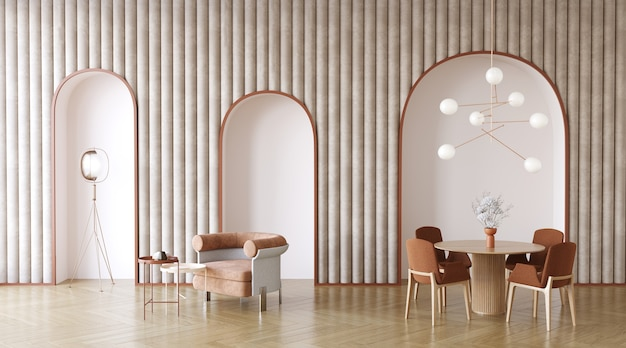 Living room design wiht arches in the wall 3d redner