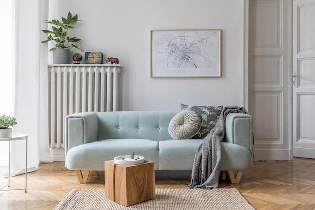 Дизайн гостиной с макетом постера рамка диван мебель растения и аксессуары шаблон