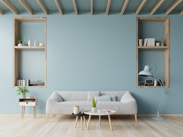 Living room design with sofa, table on blue wall and wood flooring ,3d rendering