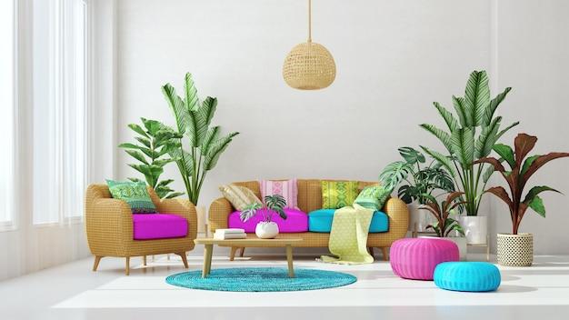 Диван и кресло из ротанга с растениями на фоне