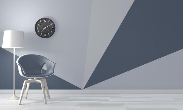 Living room geometric wall on wood floor. 3d rendering