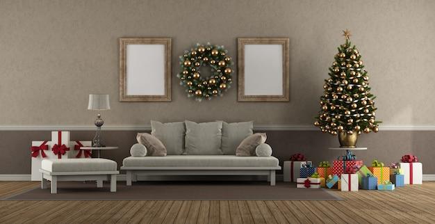 クリスマスの装飾が施されたクラシックなスタイルのリビングルーム