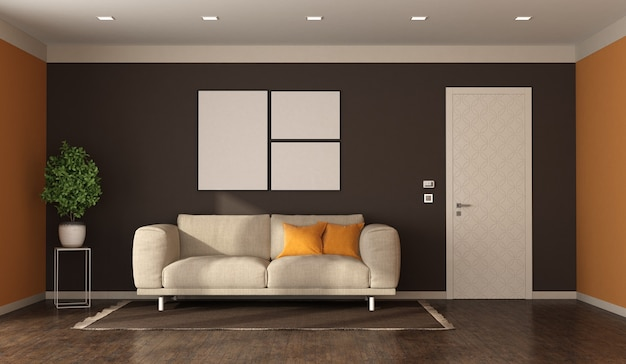 Гостиная в современном стиле, тканевый диван и закрытая дверь с декорированным панно - 3d рендеринг