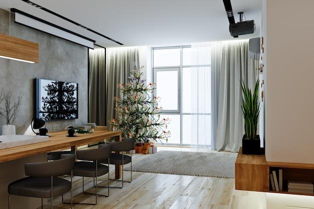 크리스마스 트리와 함께 현대적인 스타일의 거실