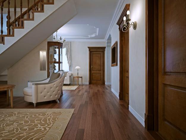 거대한 나무 문이있는 개인 주택의 거실.