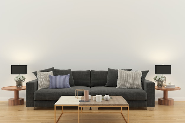 Living room interior 3d render sofa gray table lamp wood floor wooden wall  design texture