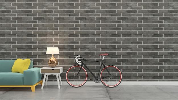 Living room interior 3d render sofa table wood floor wooden wall template