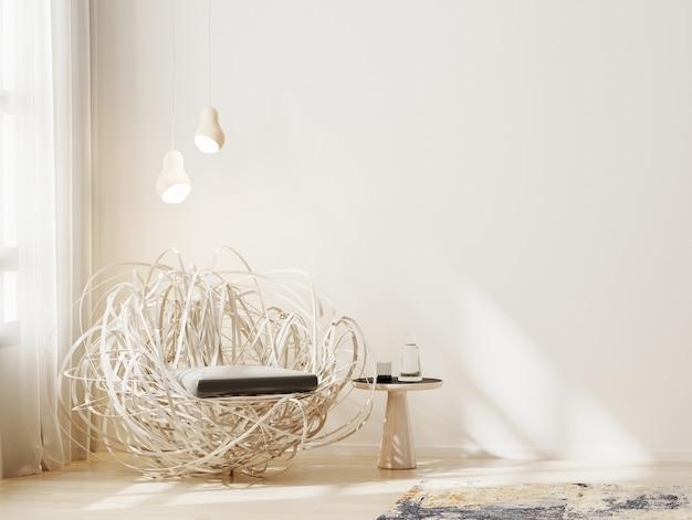 나무 안락의 자 및 창 근처 커피 테이블 거실 인테리어 배경