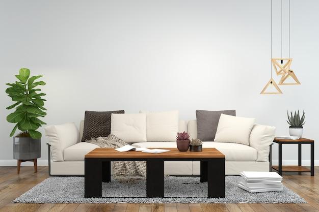Living room interior background wood floor