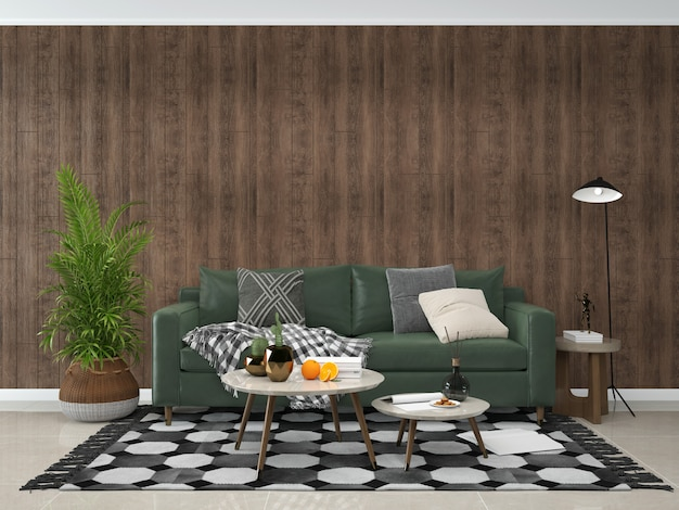 Living room interior background wooden wall